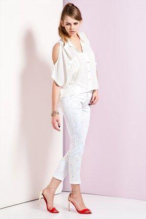 Ruj by SLN  - Beyaz Pantolon 61476