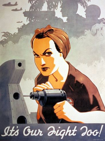 WWII Poster Featuring Rosie the Riveter Drilling Premium Photographic Print