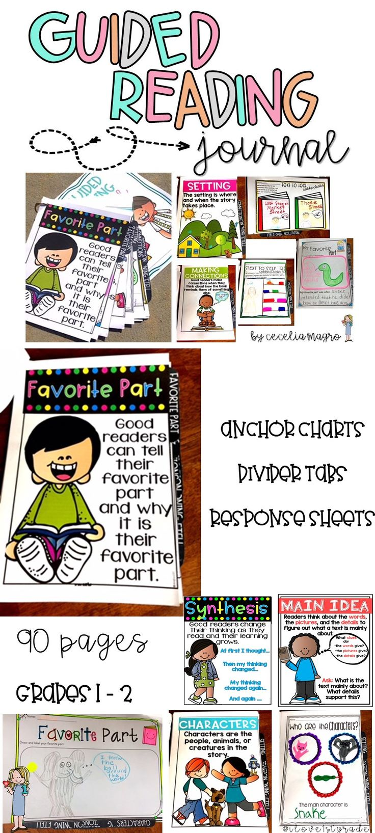 Rigorous, focused comprehension practice to use with any book. Use during guided reading, reader's workshop, whole or small group instruction, intervention, or as homework. Anchor charts with divider tabs for each of the ten strategies as well as response pages. Most of the response sheets include a page for illustrating and labeling and a page for writing allowing you to differentiate for the needs of your students. I use this resource in my guided reading groups to ensure that each…