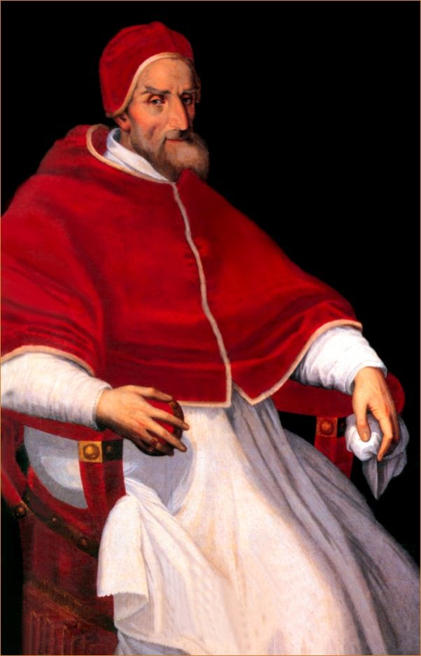 Pius IV (1499-1565) (Pope 1559-1565) was the 3rd of four Medici popes, the most from any one family during the Renaissance.  Although only distantly related to the other branches, his election meant that for a time in the 1560's (though from different branches) a Medici reigned as pope, Queen of France (Catherine de' Medici) and Duke of Florence (Cosimo I) all at the same time.