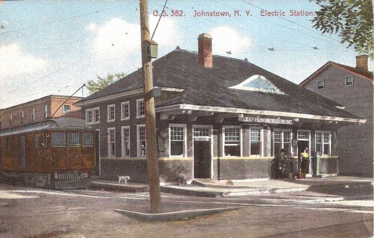 "Johnstown, New York ""Electric Station "" - Trolley Station & Trolley Car"