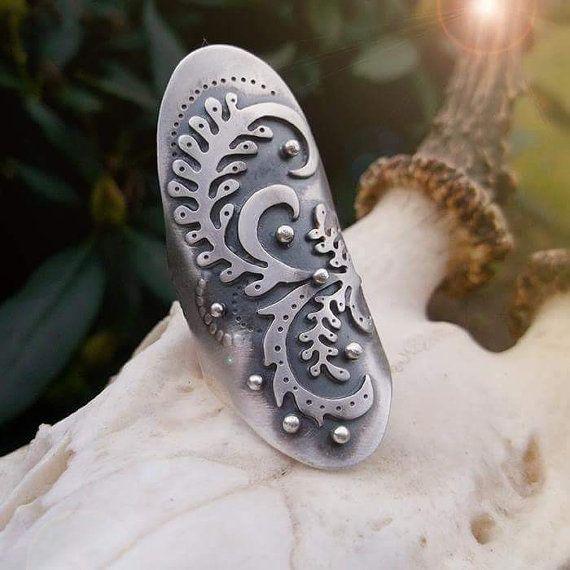 Ornate Saddle Ring  Silversmithed Shield Ring Boho by LilyBlonde