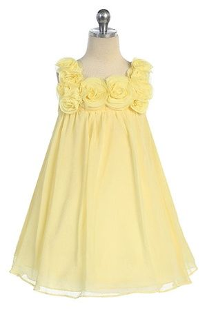 Chiffon Dress with Rosebud on Bodice