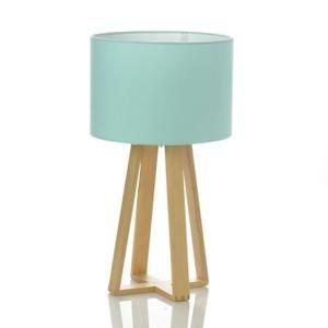 Lampe Scandinave bleue avec pied en bois