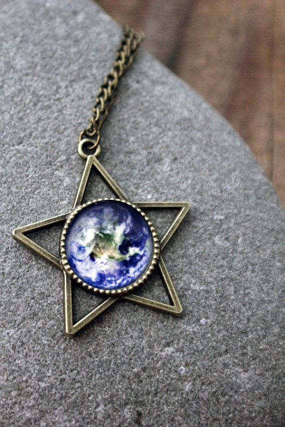 Galaxy Star Shaped Space Pendant - Antique Bronze - Long Statement Solar System Planet and Nebula Necklace - Space Jewelry, Bridesmaid Gift