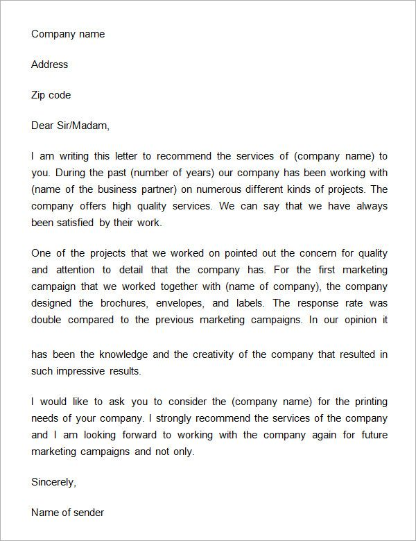 Business Reference Letter Download Free Documents Pdf Word Sample  Recommendation Format