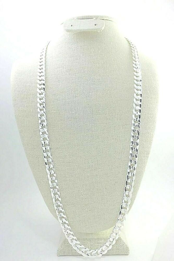 Men S 10mm Miami Cuban Curb Chain Necklace 30 Textured Sterling Silver Plated Unbranded In 2020 Silver Jewellery Indian 925 Silver Bracelet Jewelry Bracelets Silver