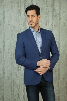 Blue terry wool jacket from #Benzer #Benzerworld #Indowesternwearformen