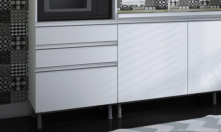 Cozinha Modulada Completa 5 Módulos UNA 100% MDF Branco - Completa | Lojas KD