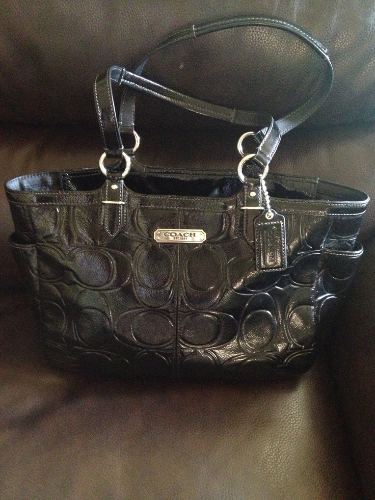 New black leather Coach Purse :) my husband picked it out for me <3 it !!