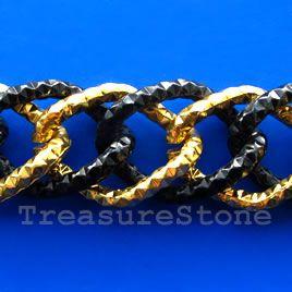 Chain, aluminum, gold-black,24x34mm double curb