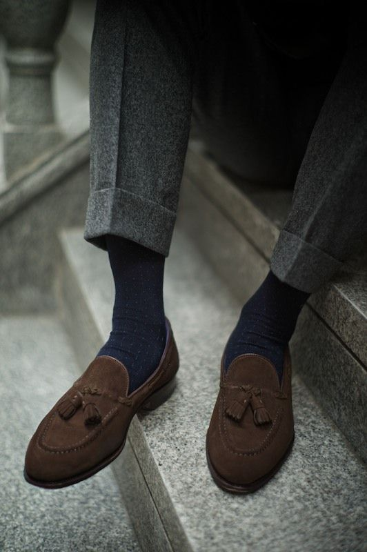 Suede loafers and turn up trousers