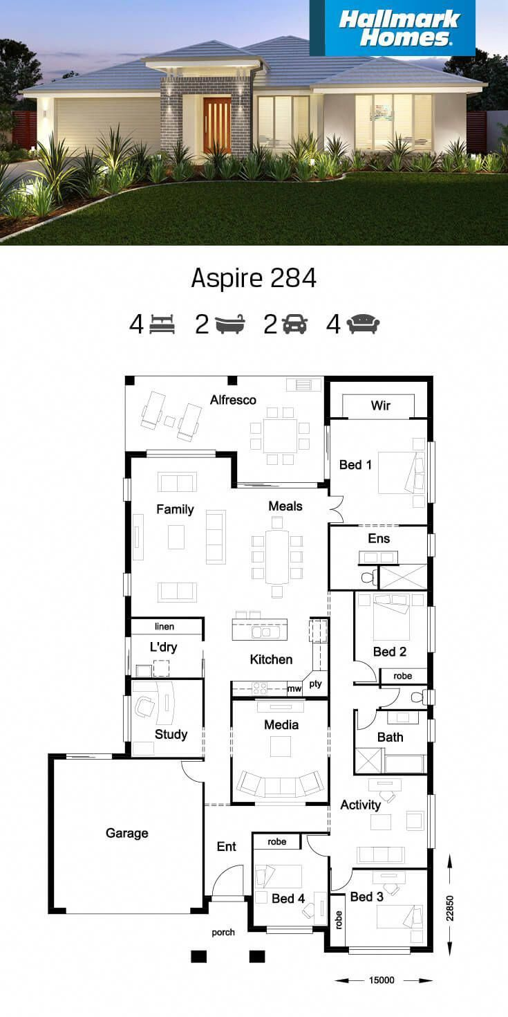 One Of Our Largest Family Homes The Aspire 284 Is A Great Entertainer Not Only Do You Get Four Larg Home Design Floor Plans House Plan Gallery My House Plans