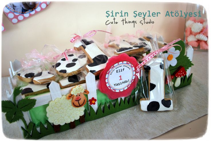 ♥ Şirin Şeyler Atölyesi - Cute Things Studio: Neler Yaptım? Çiftlik Hayvanları Temalı Bir Yaş Doğum Günü Pastası, Kurabiyeleri ve Parti Süsleri :)