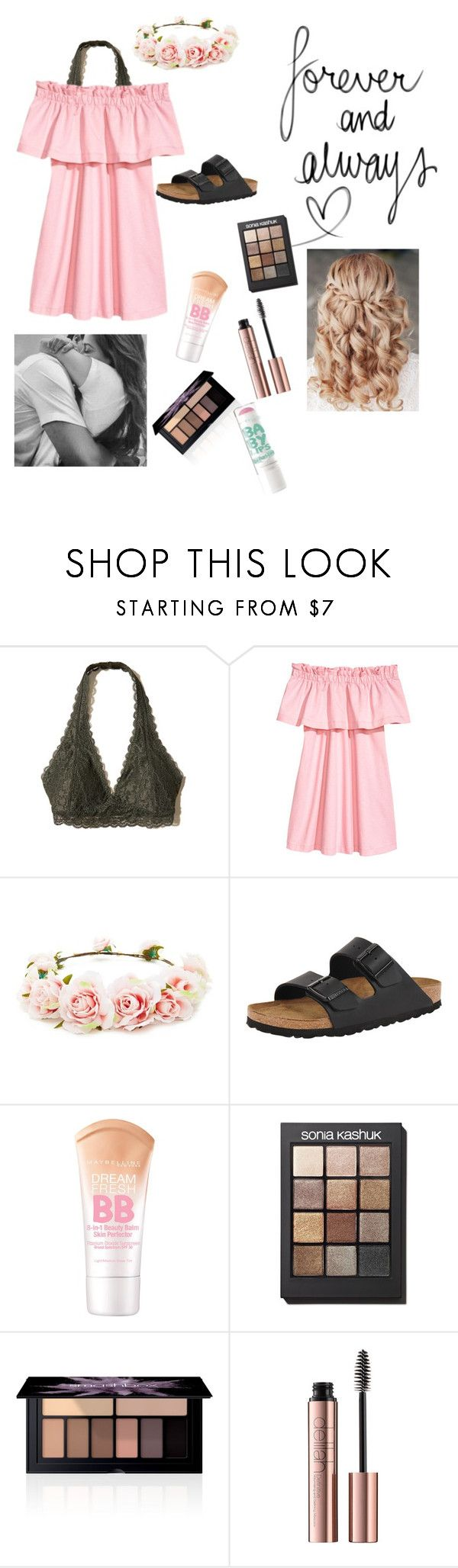 """""""Cute guys at swim camp!! """" by emily-wollan ❤ liked on Polyvore featuring Hollister Co., Forever 21, Birkenstock, Retrò, Maybelline, Sonia Kashuk and Smashbox"""
