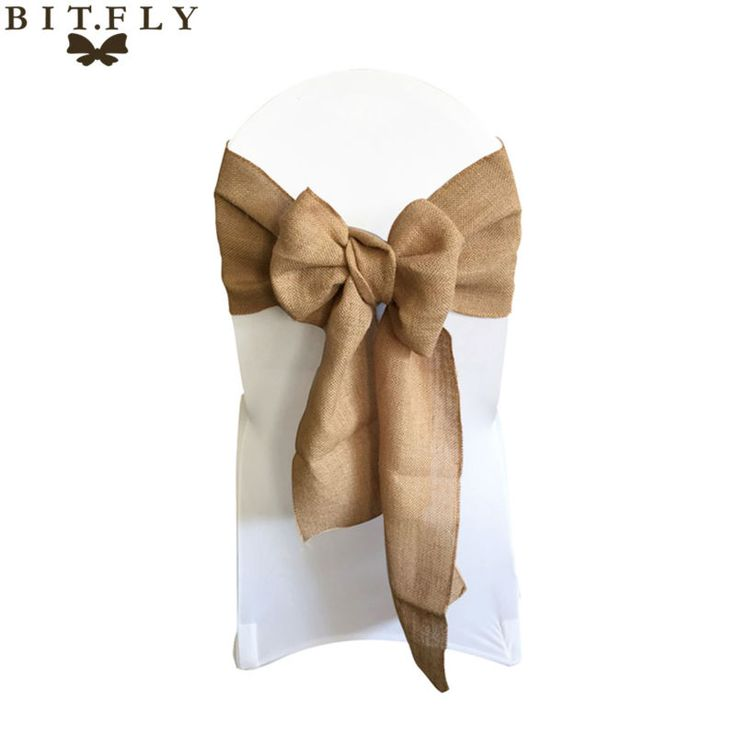 """7""""*108"""" Naturally Elegant Burlap Chair Sashes Jute Chair Tie Bow for Rustic Wedding Decoration"""