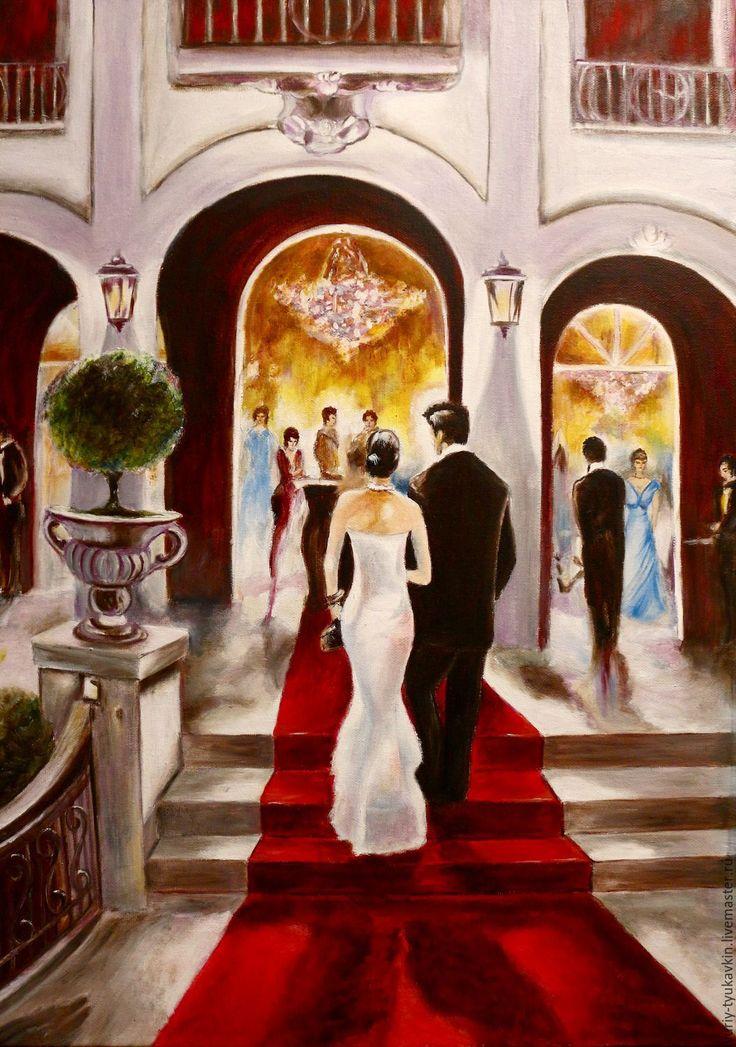 """Купить """" Театр в Париже """" - бордовый, большая картина, огромная картина, картина в подарок"""