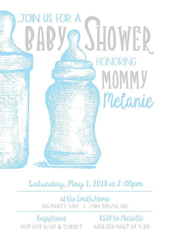 Baby Bottle Shower Invitation Boy