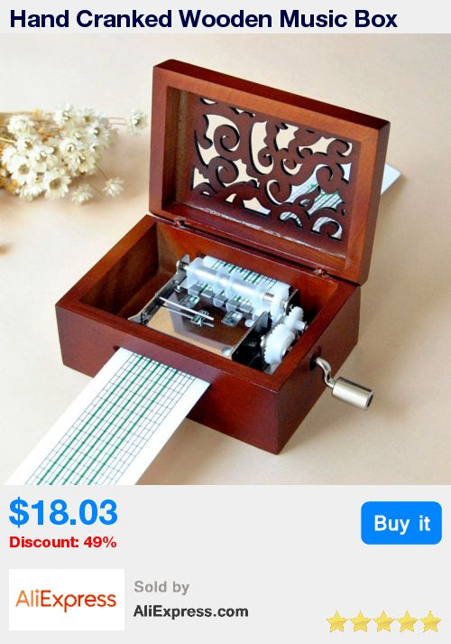 Hand Cranked Wooden Music Box Vintage DIY Wood Hollow Music Box + Hole Puncher+30 Tape Strips Musical Case Gifts Jewelry Box * Pub Date: 08:16 Jun 24 2017