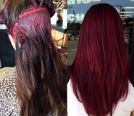 Behind The Chair - red formula Matrix SOCOLOR Formula: 3 oz. 5VR + ½ oz. 3VR + 1 oz. SoRed RV + 20-volume developer + ½ oz. Olaplex