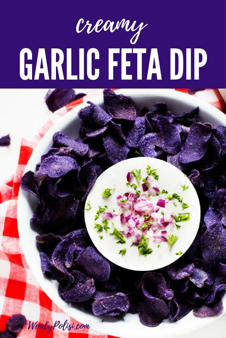 This Creamy Garlic Feta Dip is perfect for your next grill out! Gluten-Free and Vegetarian, this simple feta dip recipe is one that you will make time and again. @JacksonsHonest #coconutoil #recipe #ad