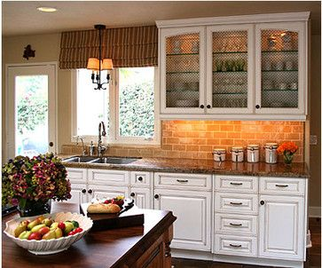 Beautiful Backsplash for Black Granite Countertops and White Cabinets