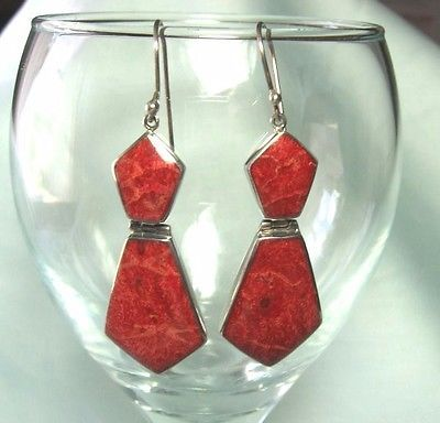 925-Sterling-Silver-Red-Sponge-Coral-Earrings-9-12-grams-2-3-8-long