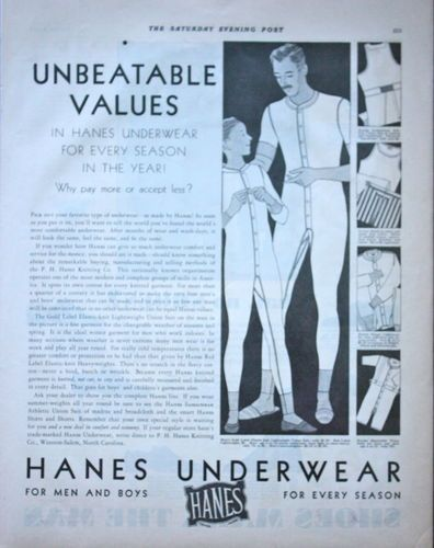 1930s ad Mens Underwear HANES For Men and Boys Union Suit