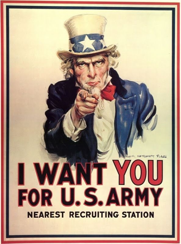 """I WANT YOU FOR U.S ARMY Sin duda uno de los carteles propagandísiticos más famosos y transcendentes de la historia.  Fue empleado con enorme éxito durante la Primera Guerra Mundial y posteriormente en la Segunda. Hay quien piensa que el hombre de la imagen es un presidente como Abraham Lincoln pero en realidad se trata de un comerciante de carnes llamado """"uncle"""" Sam Wilson que suministraba al Ejército de EEUU durante la guerra de 1812."""