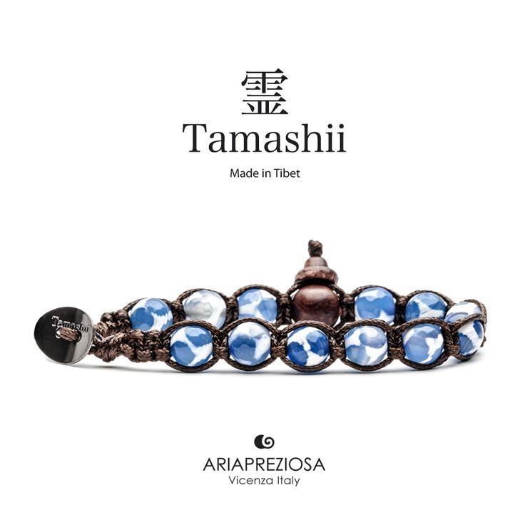 Bracciale originale Tamashii Painted realizzato con pietre naturali AGATA BLU dipinta col. BIANCO.
