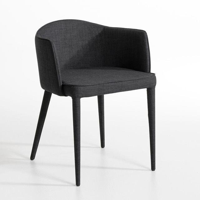 Fauteuil de table Bristol AM.PM : prix, avis & notation, livraison.  Le fauteuil de table Bristol. Un fauteuil à l'élégance très couture qui trouvera facilement sa place devant un bureau ou autour d'une table de salle à manger. Caractéristiques :- Structure en acier.- Entièrement gainé de tissu 100% polyester, souligné d'une finition passepoilée.- Garnissage en mousse polyuréthane 30 kg/m3 (assise) et 25 kg/m3 (dossier et acc...