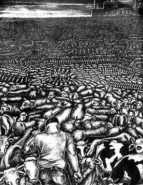 """Mucca pazza: gli effetti dell'allevamento industriale ci arrivano a casa nel piatto  di Sheldon Rampton e John Stauber autori del libro """"Mad Cow USA""""*  illustrazioni di Sue Coe  la copertina di CAQ 62 tratto da Covert Action Quarterly n. 62 (autunno 1997)-illustrazione di Sue Cow tratta da: Dead Meat (New York: Four Walls Eight Windows, 1995)"""
