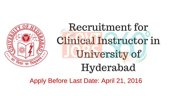 Recruitment for Clinical Instructor in University of Hyderabad