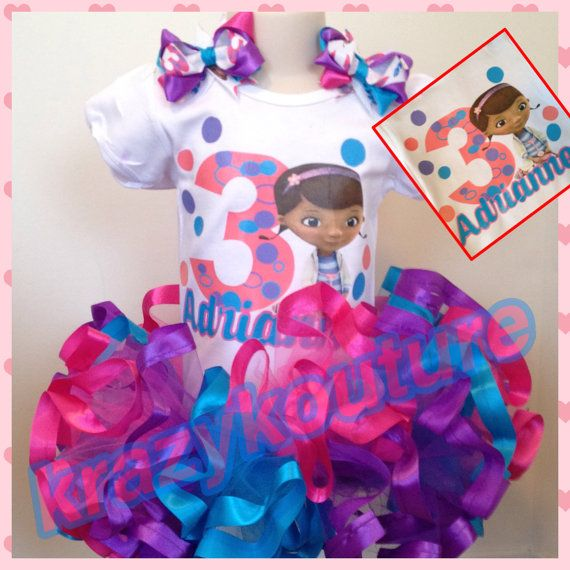 ribbon trimmed doc mcstuffins tutu set by kaykouturetutu on Etsy