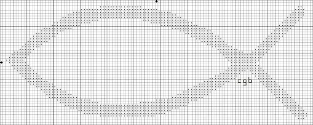 Free Christian Symbols Counted Cross Stitch Charts: Free Simple Christian Fish Symbol Cross Stitch Pattern