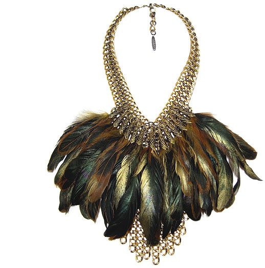 Jewellery by Karen gold tone chain mail bib with filigree trimmed feathers.  Details: http://jewellerybykaren.com/boutique/necklaces/necklace-984n