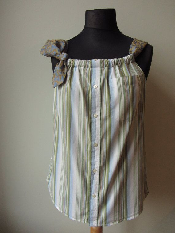 Upcycled Clothing for Women Striped Tank by GarageCoutureClothes