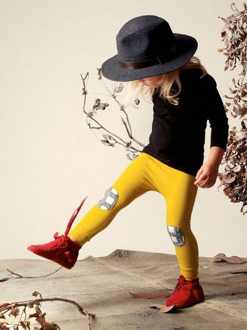 Organic Cotton mustard skinny pant with patch.