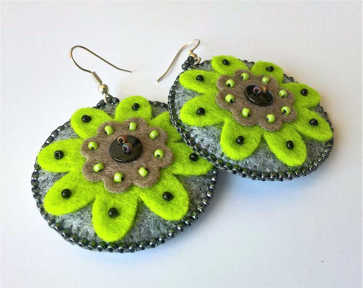 Filcowe kolczyki / felt earrings -  handmade by Kreatywny Zakątek