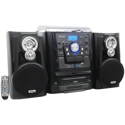Jensen 3-Speed Bluetooth Stereo Turntable Music System with CD Changer and Dual Cassette Deck | hhgregg