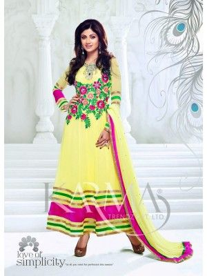 Shilpa shetty Yellow And Pink Embroiderd Designer Anaarkali With Full Sleeve Check our New Bollywood collection, http://20offers.com/Salwar-Kameez/party_and_festival_suits/shilpa_shetty_yellow_and_pink_embroiderd_designer_anaarkali_with_full_sleeve#.U0U_NaiSzxA , Available for shipping worldwide,  Buy Bollywood Suits at lowest price in USA, CANADA, AUSTRALIA, NEW ZEALAND, SINGAPORE, MALYASIA ,UK, NETHERLANDS, FRANCE, JERMANY - Indian Clothing Online!