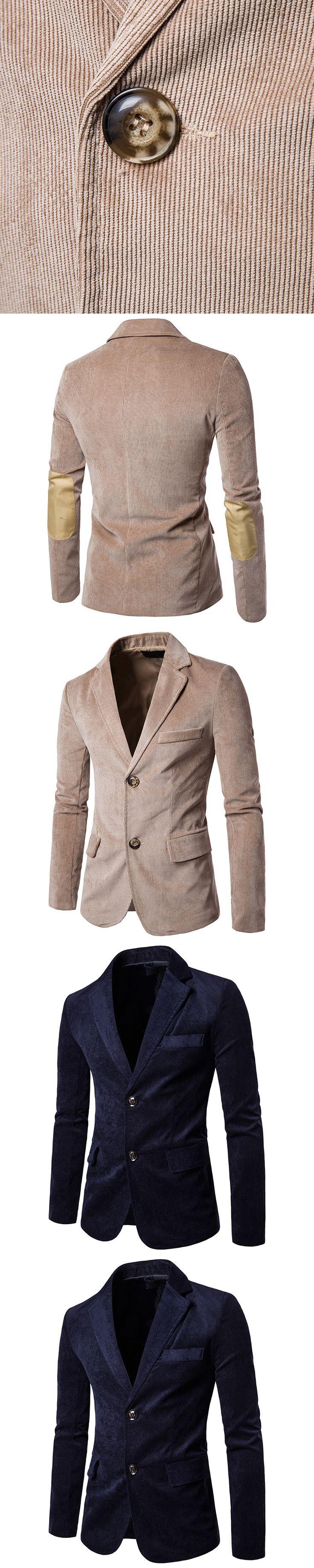 Mens Corduroy Blazers 2017 Casual Patchwork Blazer Hombre Single Breasted Male Suit Jacket Autumn Slim Fit Mens Blazers M~2XL