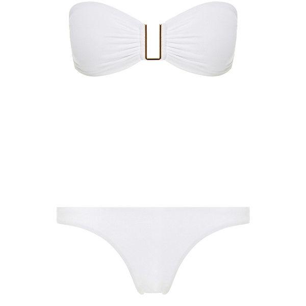 Melissa Odabash Barcelona White Bandeau Bikini ($110) ❤ liked on Polyvore featuring white, bandeau bikini top, bandeau tops and melissa odabash