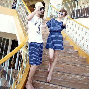Blue Couple dress  Bahan: COTTON Cow = PANTS LENGTH: 54 CM, WAIST: 35 – 55 CM Cew =  LENGTH: 74CM, BUST: 86CM, SLEEVE: 17CM, WAIST: 21-45CM  Harga : 194.000,-