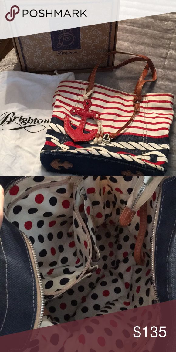 Brighton Nautical Purse Brighton Purse-Nautical Gently Used Comes from a smoke free home  Large Shoulder Bag Pocket on the outside, 2 zippered pockets on inside, key holder attached Comes with box and cloth storage bag Brighton Bags Shoulder Bags