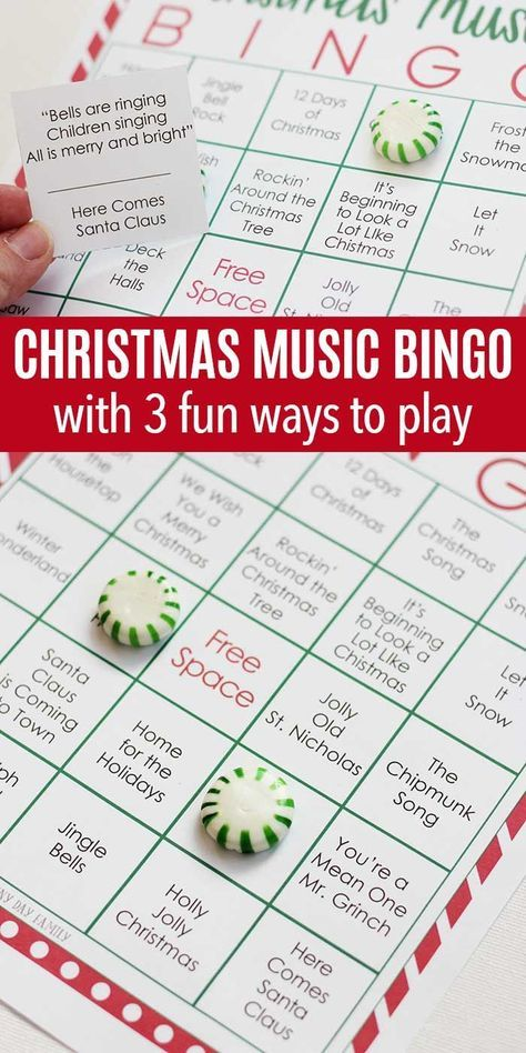 Test your Christmas music knowledge with this fun printable Christmas BINGO game! Perfect for holiday parties, classrooms, or even road trips, this Christmas bingo game is fun for the whole family! #Christmasgames #Christmaspartyfun #Christmasgamesforkids