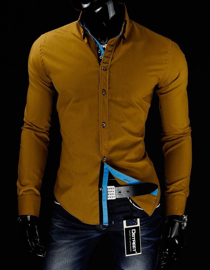 Koszula męska kamelowa (dx0395) - Dstreet.pl