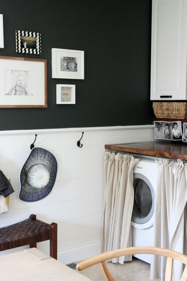 Cute way to hide your washer and dryer. (House Tour in the Works) #tips: House Tours, Mudroom 2014, Curtains, Laundry Rooms Mud, Appliances, Paintings Colors, House Tweaking, Baby Rooms, Hangers