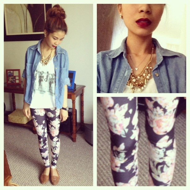Printed leggings, graphic tee, and blazer/denim button up