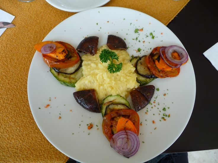 Vegetable Tower with mashed Yucca